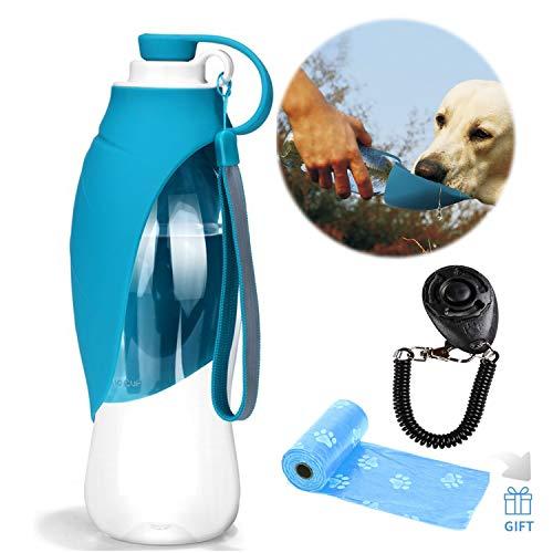 YAMI Haustier Reise Wasser Flaschen erweiterbarer Silikon Hundewasser Flaschen Zufuhr mit freiem Hundetraining Clicker- und Hundeabfall Poop Taschen (Blau)