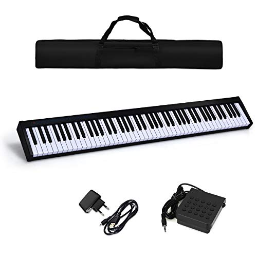 COSTWAY Digitales Piano Keyboard 88 Tasten, tragbares elektronisches Musikinstrument, MIDI Bluetooth, Bedienfeld, Leichtgewicht, Musikgeschenke für Kinder und Anfänger, mit Tragetasche, schwarz
