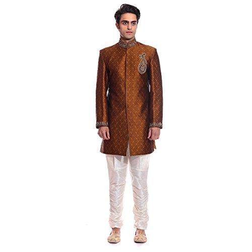 Tag 7 Men's Jacquard Sherwani (IN188_Yellow_38)
