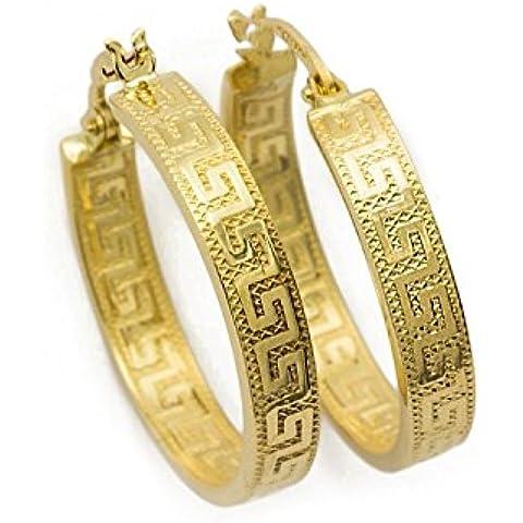 Chiave greca Orecchini a cerchio in oro giallo 18kt/750con Diamante platinata (2.9x 22ø mm)–pri219