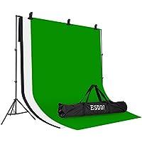 Fotostudio Hintergrund Ständer-Support-System, ESDDI Fotohintergrund System mit 3m*3m Hintergrund (weiß, schwarz, grün) für Porträt, Produkt Fotografie und Video Shooting