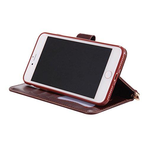 iPhone 7 Plus Custodia Case, iPhone 7 Plus Copertura 5.5, Design PU Leather Flip di cuoio case Portafoglio con slot per schede - albicocca Marrone