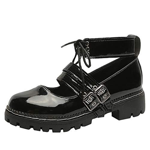 MakefortuneDamen Ankle Retro Sandal Bootie Damen Lace Funky Vintage Gothic Stiefeletten Bukle Strap Mary Jane Schuh Sandalen