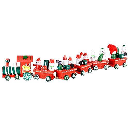 Takestop® treno trenino di legno natale con carrozze 5 vagoni 32 cm natalizio decorazione babbo pupazzo giocattolo bambini