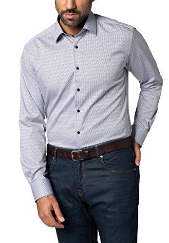 Eterna Long Sleeve Shirt Modern Fit Figurative Dobby Pattern Checked Blu