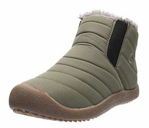 JOOMRA Chaussures d'hiver à lacets confort Imperméable bottes mode urbaine chaud Neige Boots Fourrure thermique chaudes Cheville basket Fourrure Bottines Pour Sport Plein Air brun vert 42 homme
