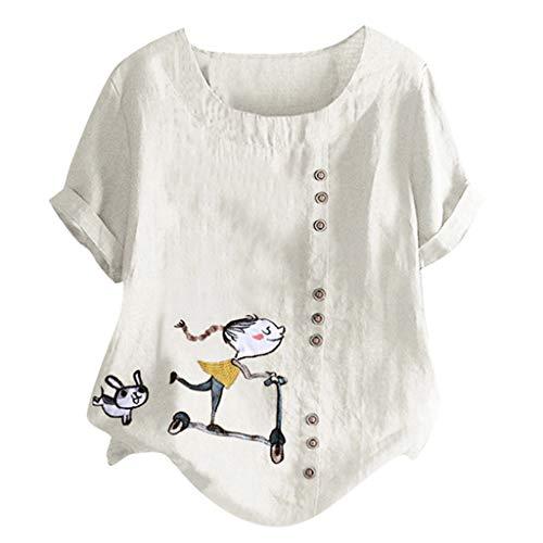 LILIHOT Damen T-Shirt Frauen Lose Gedruckte Blusen Mode Beiläufige Kurzarm Oberseiten Sommer Plus Größen T-Shirt Oansatz Knopf Tunika Hemd Elegant Freizeit Tee Tops -