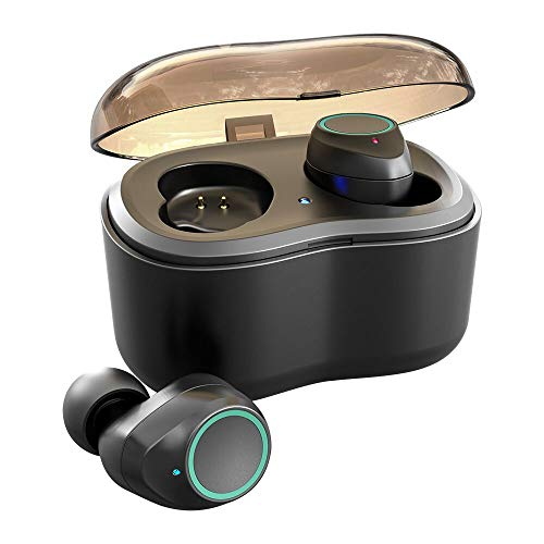 Antimi Bluetooth Kopfhörer, Bluetooth 5.0 Bluetooth Headphones Drahtlos Kopfhörer Stereo-Minikopfhörer IPX6 Wasserdicht Kopfhörer in Ear mit Ladebox und Integriertem Mikrofon für Android und iPhone thumbnail