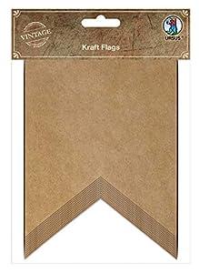 Ursus 40650004 - Banderas de Papel Kraft, 12 Banderas para diseñar y Colgar, Color Natural