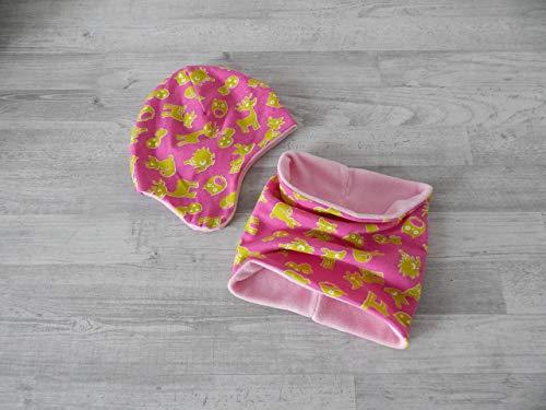 Mützen-Set, Wintermütze mit Schal Gr. 48-50 pink mit grünen Waldtieren, gefüttert mit Fleece in rosa. 53% Polyester, 45% Baumwolle, 2% Elasthan Gefüttert Polyester