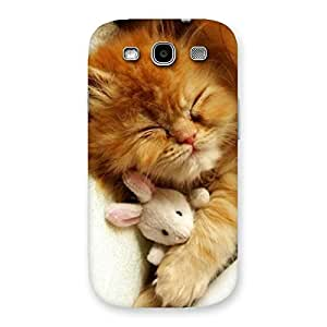 Premium Sleeping Cat with Bunny Multicolor Back Case Cover for Galaxy S3