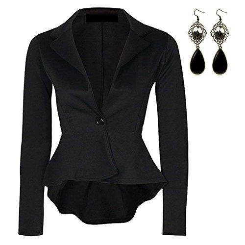 M-Queen Femme Blazer Minceur Manches Longues Cardigan Courte Coquille Tops Zipper OL Slim Waterfall Chemisier Outwear Manteaux Veste Noir