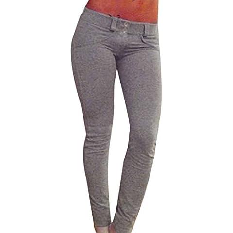 QIYUN.Z Piernas Atractivas De Las Mujeres Flacas De Las Polainas De Color Caqui Gris Del Remiendo De Las Caderas Nuevos Pantalones Lapiz