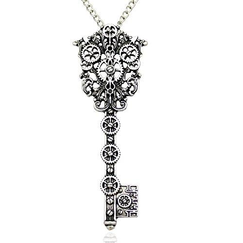 Q&Q Fashion Viktorianischer filigranen Skelett Schlüssel Armbanduhr Uhr gear Cog Steampunk Kette (Halskette Steampunk Zahnrad)