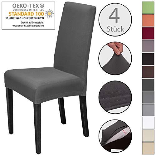 Staboos Stretch Universal Stuhlhusse (4er Set) aus Baumwolle für Stühle, hautfreundlich, elastisch, waschbar und bügelfrei | Anthrazit