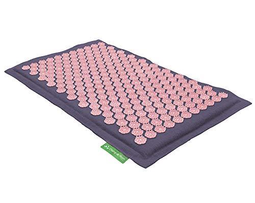 Akupressurmatte (mauve rosa) - Original Blumenfeld Spitzenqualität mit Patentierten Lotusblumen - Natürliches Material, Schadstoff- und Milbenfrei, Kokosfaser und Naturleinen -