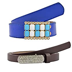 Diovanni Combo Of 2 Womens Belt (Navy Blue)