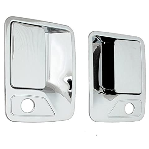 E-Autogrilles Triple Chrome Plated ABS 2 Door Handle Cover with Passenger Keyhole for 99-16 Ford F-250/350/450 (64-0310) by E-Autogrilles