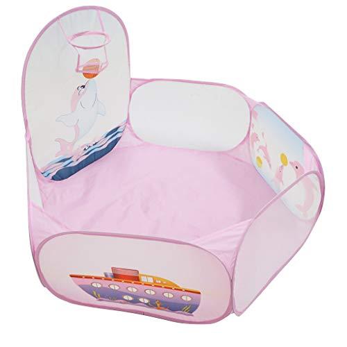 FLAMEER Pop Up Zelt Bällebad Bällchenpool mit Basketballkorb ohne Bäll Spielzeug für Innen- oder Außenbereich
