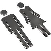BUYGOO 2 Piezas Señales de Puerta de Hombre y Mujer Adhesiva Baño Cartel Moderno para Tienda/Cafetería/ Restaurante/Centro Comercial
