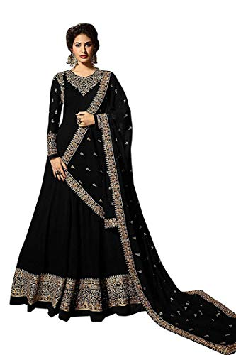 Monika Silk Mill Women\'s Latest Black Color Georgette heavy Embroidered Wedding Collection Semi Stitched Anarkali Salwar Suit Dress Materials
