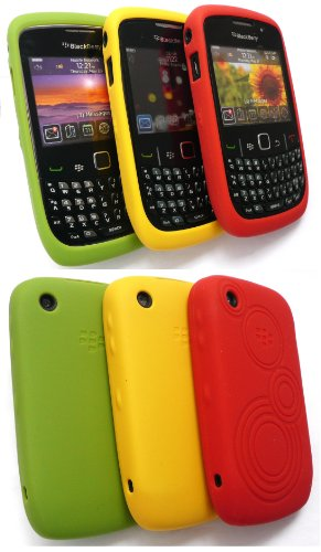 Original Blackberry 9300 Curve 3G Triple Pack Silikon Hülle Bundle Von Gelben, Grünen Und Embossed Red Butterfly Coral In Retail-Verpackung