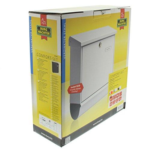 BURG-WÄCHTER, Briefkasten-Set mit integriertem Zeitungsfach, A4 Einwurf-Format, Verzinkter Stahl, Comfort-Set 91300 W, Weiß - 5