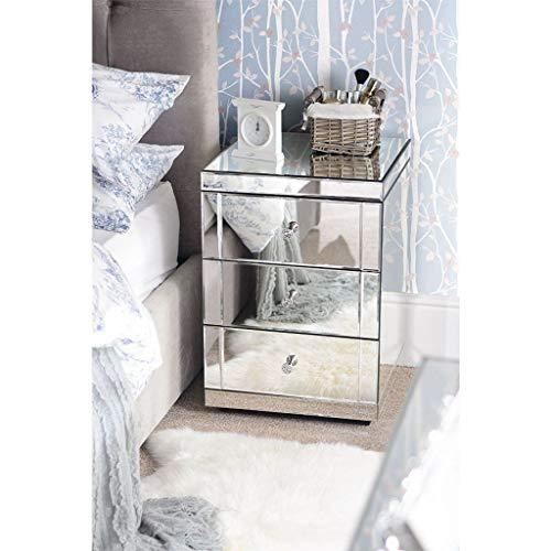 Generic Spiegel-Nachttisch mit 3 Schubladen und 3 Schubladen, verspiegelt, luxuriöses Schlafzimmermöbel, einzigartiges Möbelstück