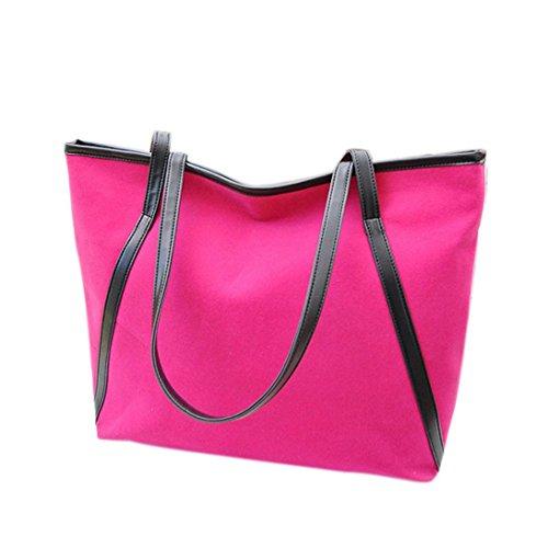 Saingace Neue einfache Winter-große Kapazitäts-Leder-Veloursleder-Frauen-Beutel-Kurier Handtaschen Schultertasche Freizeitrucksack Tasche Rucksäcke Hot Pink