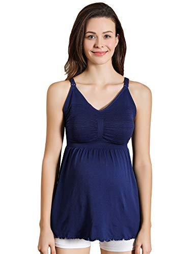 Bügel-hemdchen (iLoveSIA Damen Still Hemdchen ohne Bügel bequemer Still-Tanktop Schwangerschafts-top blau,Größe S)
