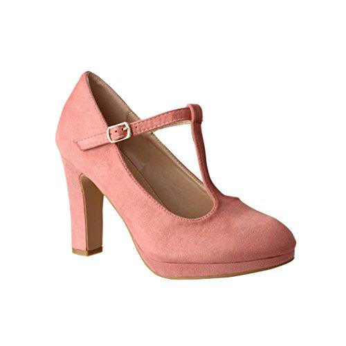 Elara Damen High Heels | Bequeme T-Spangen Pumps | Riemchen Vintage | Chunkyrayan | 4685-Pink-40