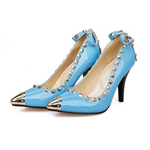 Più Balamasa Pelle Di Brevetto Alti Winkle Donna In Blue scarpe Tacchi Pompe Rosa qx1BI10Z