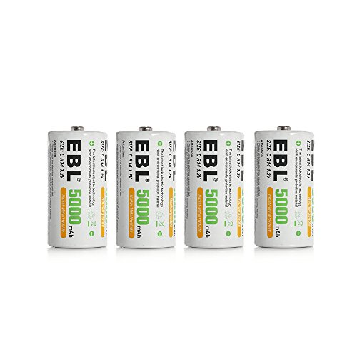 EBL 4pcs Piles Rechargeables C 5000mAh Ni-MH 1.2V, Type C Baby C LR14 Batterie Rechargeable 1200 Cycles