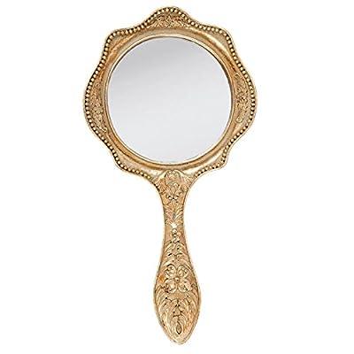 Clayre & Eef 62S075 Spiegel Handspiegel Kosmetikspiegel goldfarbig ca. 19 x 39 x 2 cm
