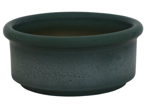 hundeinfo24.de K&K Hunde Futterschale V = 3,0 Liter grün-geflammt 25×11 cm aus schwerer Steinzeug-Keramik