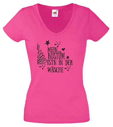 Black Dragon T-Shirt Damen - V-Ausschnitt - JDM/Die Cut - Fasching/Karneval - Pink - Mein Kostüm Wäsche - XS (Jungen Damen Pink T-shirt)