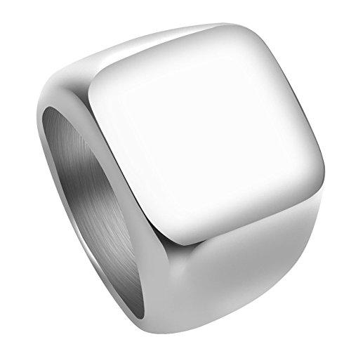 Personalized Master Personalisiert Gravur - Edelstahl Ring Glänzend Poliert Herren Siegelring Biker Quadrat Ring Gr.58-70 (Silber, 70 (22.3))
