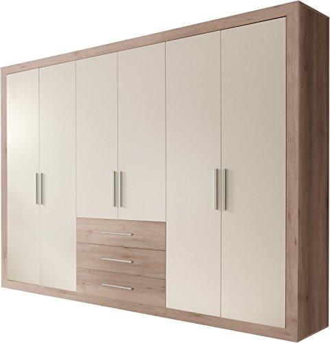 Stella Trading Fernando 6-türiger Kleiderschrank, Holz, buche / weiß, 59 x 289 x 225 cm
