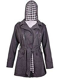 Womens Long Sleeve Ladies Stretch Toggle Belt Pockets Check Lined Hooded Jacket Coat Plus Size