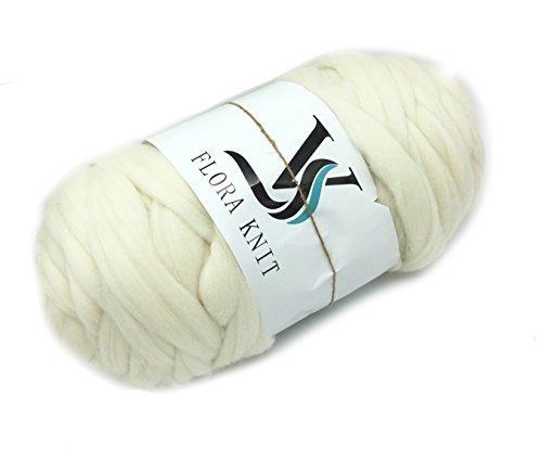 floravogue 100% Merino Wolle 70mm Super Chunky Garn klobigen Roving Garn Cream-2KG (Chunky Garn Merino)
