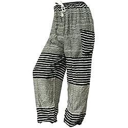 Pantalones holgados con cierre de cuerda amplios MUCHOS DISEÑOS ropa cómoda informal festival yoga pijama pantalones cómodos pantalón bombacho (Rayas blancas y negras)