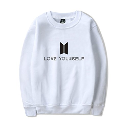 SIMYJOY Lovers Love Yourself Felpa KPOP Pullover BTS Hip Hop Felpa Top per Uomo Donna Adolescente bianco Jung Kook 97