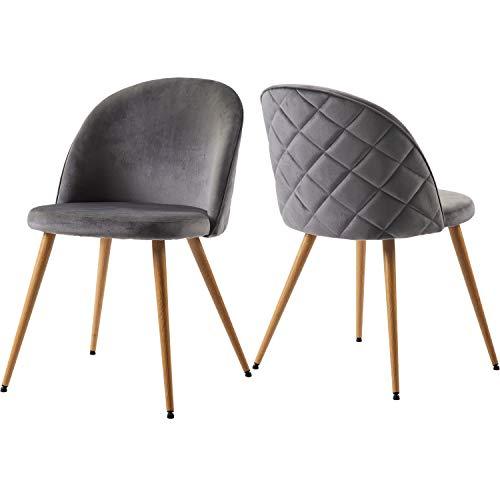 ModernLuxe Esszimmerstuhl 2er Set Wohnzimmerstuhl Samt Stoff Polsterstuhl Loungesessel Esszimmer Stühle für ESS- und Wohnzimmer, mit Holzernen Metallbeinen, Farbauswahl (Grau)