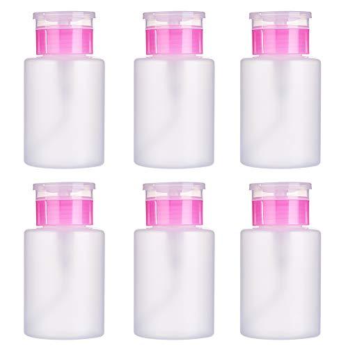 BENECREAT 6 Pack 150ml Push Down Leere Flasche Nagellack-Make-up-Entferner Pumpspenderflaschen für Alkohol, Aceton und Reinigungsflüssigkeit -