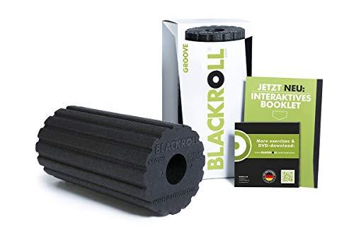 BLACKROLL® GROOVE Faszienrolle - das Original (Härtegrad mittel) - Selbstmassage - Rolle mit Vibrationseffekt für die Faszien in schwarz + Booklet