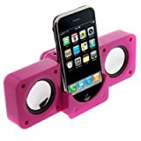 Foldable Mini Travel Speaker Set by KIICKS Portable Folding Stereo Speakers in PINK