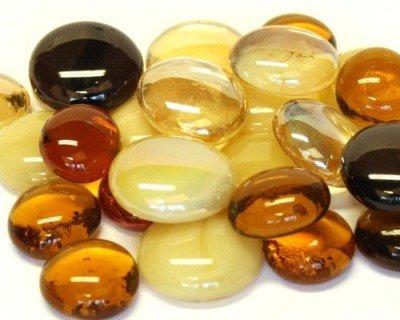 Glass Mosaic Tile Nuggets Caramel Mix Rounded Gems