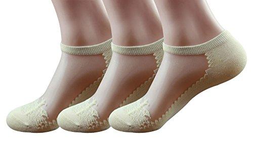 Damen Sommer Dünn Transparent Kristall Spitze Elastisch Kurze Socken 3 Pack (#3C)