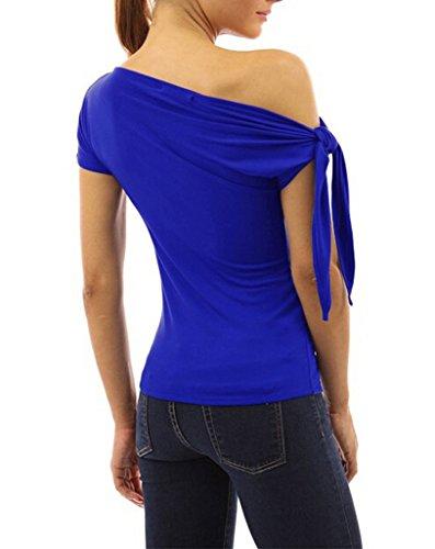 Smile YKK Sexy Chemise Une Epaule Nue Femme T-shirt Manche Courte Blouse Top Eté Haut Elégante Bleu
