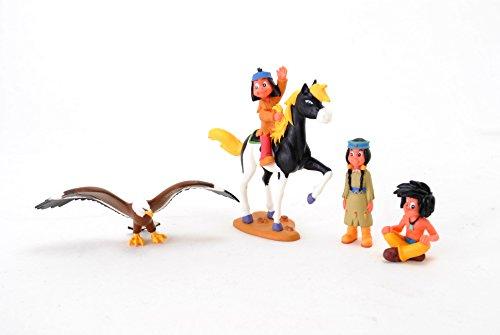 Bullyland Yakari Figuren 4er Set Spielfiguren Indianer Yakari und kleiner Donner, Regenbogen, kleiner Dachs und großer Adler